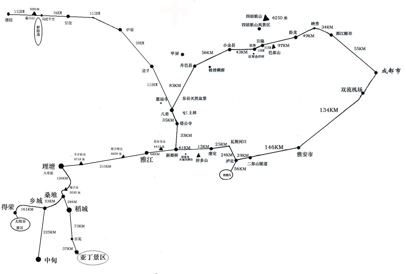 成都-稻城交通地图