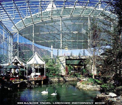 美景旅游网图片库-天堂酒店内大堂水池