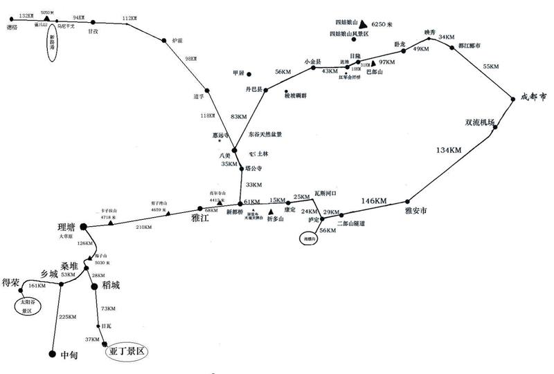 成都至稻城交通地图