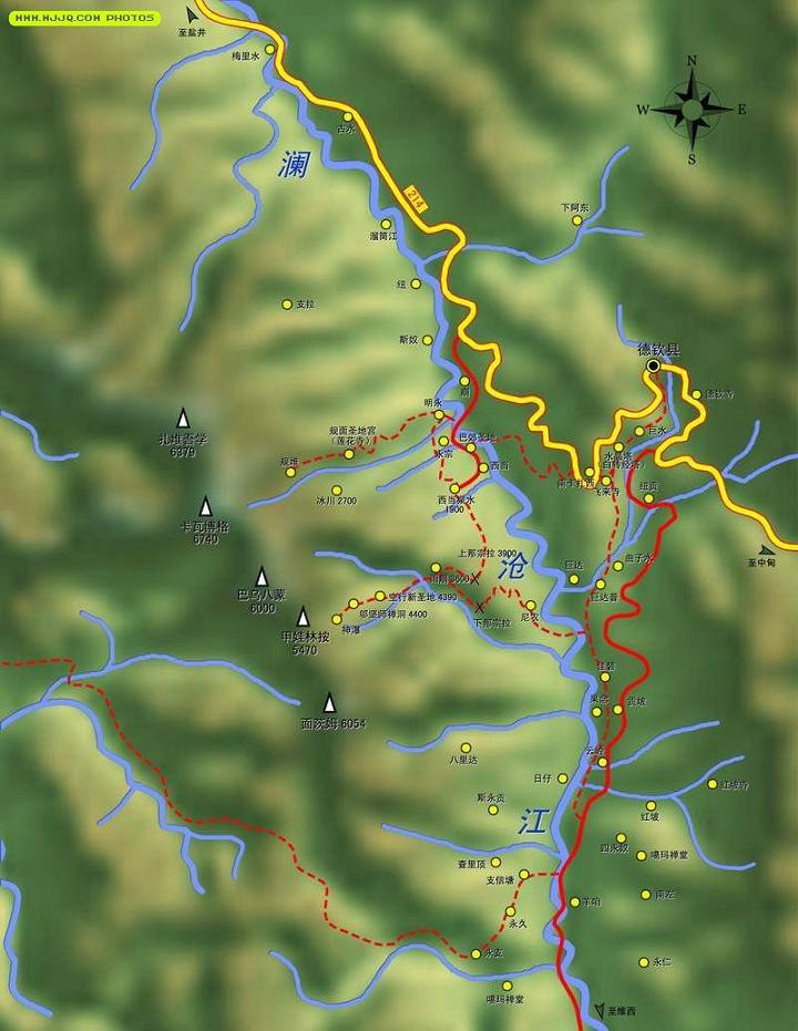 梅里雪山内转经路线示意图