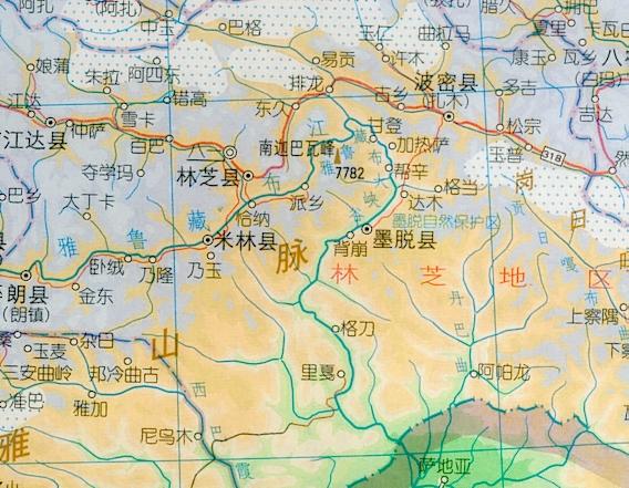 点击查看大图-西藏雅鲁藏布江大峡谷区域行政地图
