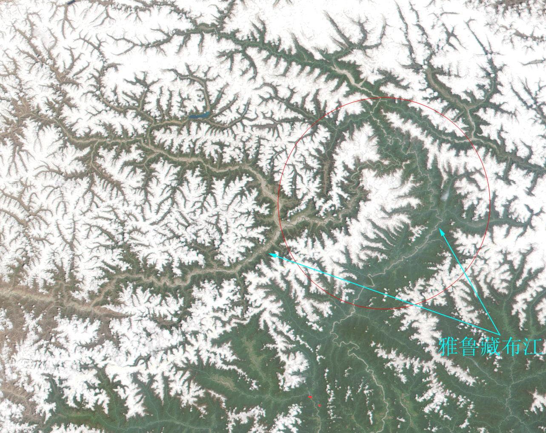 点击查看大图-西藏雅鲁藏布江大峡谷卫星地图