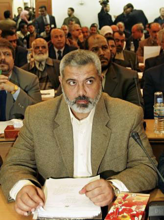 图文:巴勒斯坦候任总理哈尼亚出席立法委会议
