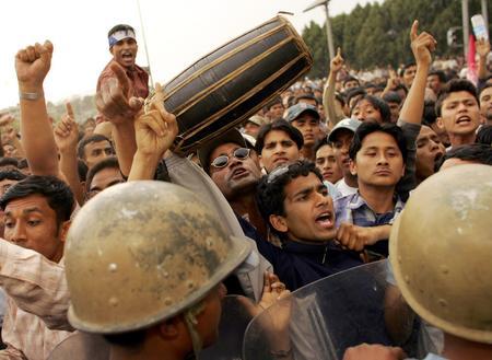 图文:数万尼泊尔民众举行集会