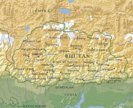 不丹王国地图