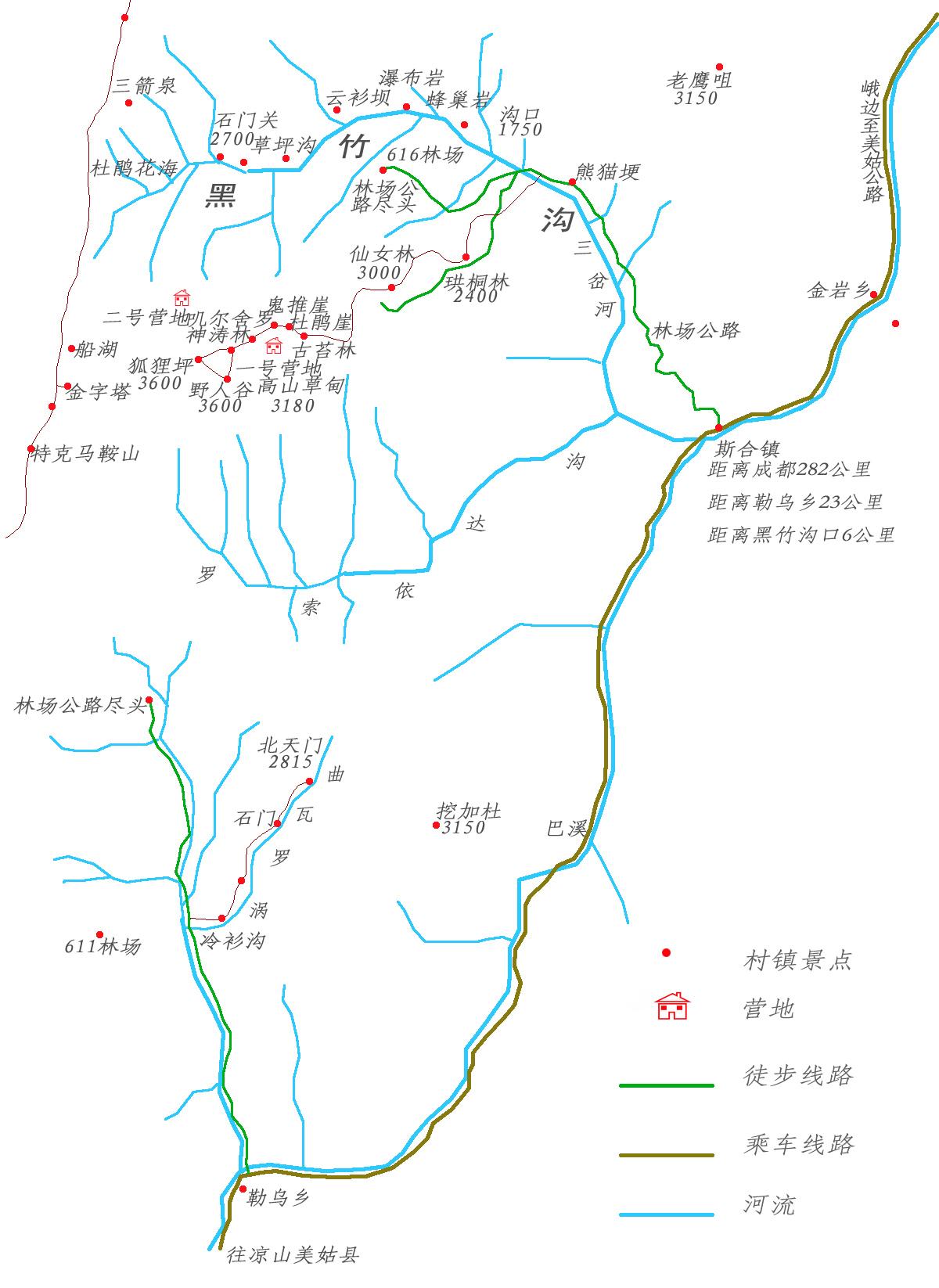 四川黑竹沟旅游地图