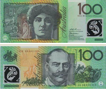 澳大利亚元图片100澳元