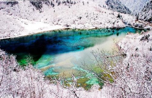九寨沟冬季风景图片-五花海