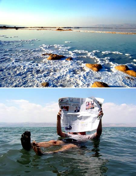 以色列与约旦交界处死海:地球最低的水域