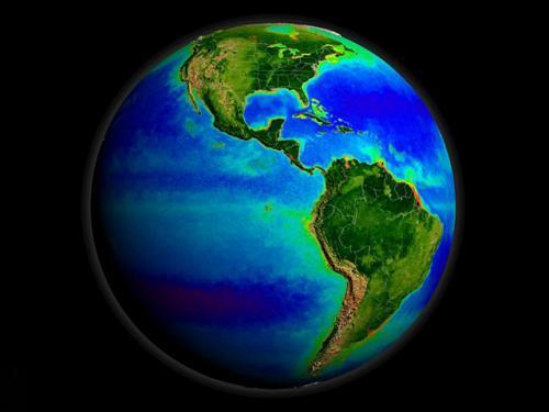 图片:海星人造卫星拍摄的地球海洋,海洋深蓝色部分表明海洋中缺少营养物质,<br /> 绿色和红色部分显示富含营养的海洋区域