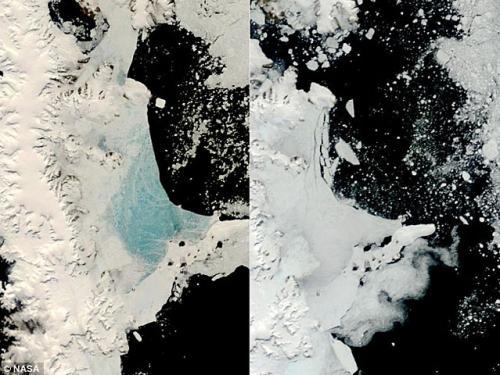 美国宇航局Terra人造卫星拍摄南极洲海冰形式的对比图