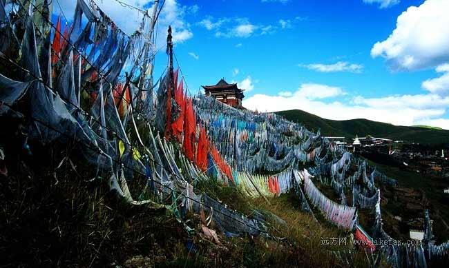索克藏寺的经幡群 作者:荆无牙