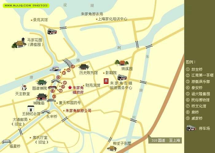 朱家角鎮旅遊地圖