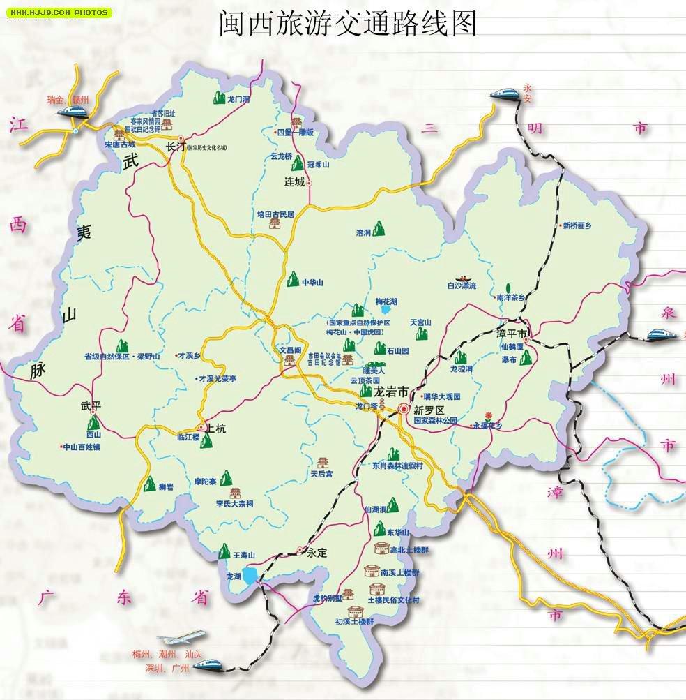 龙岩市旅游地图