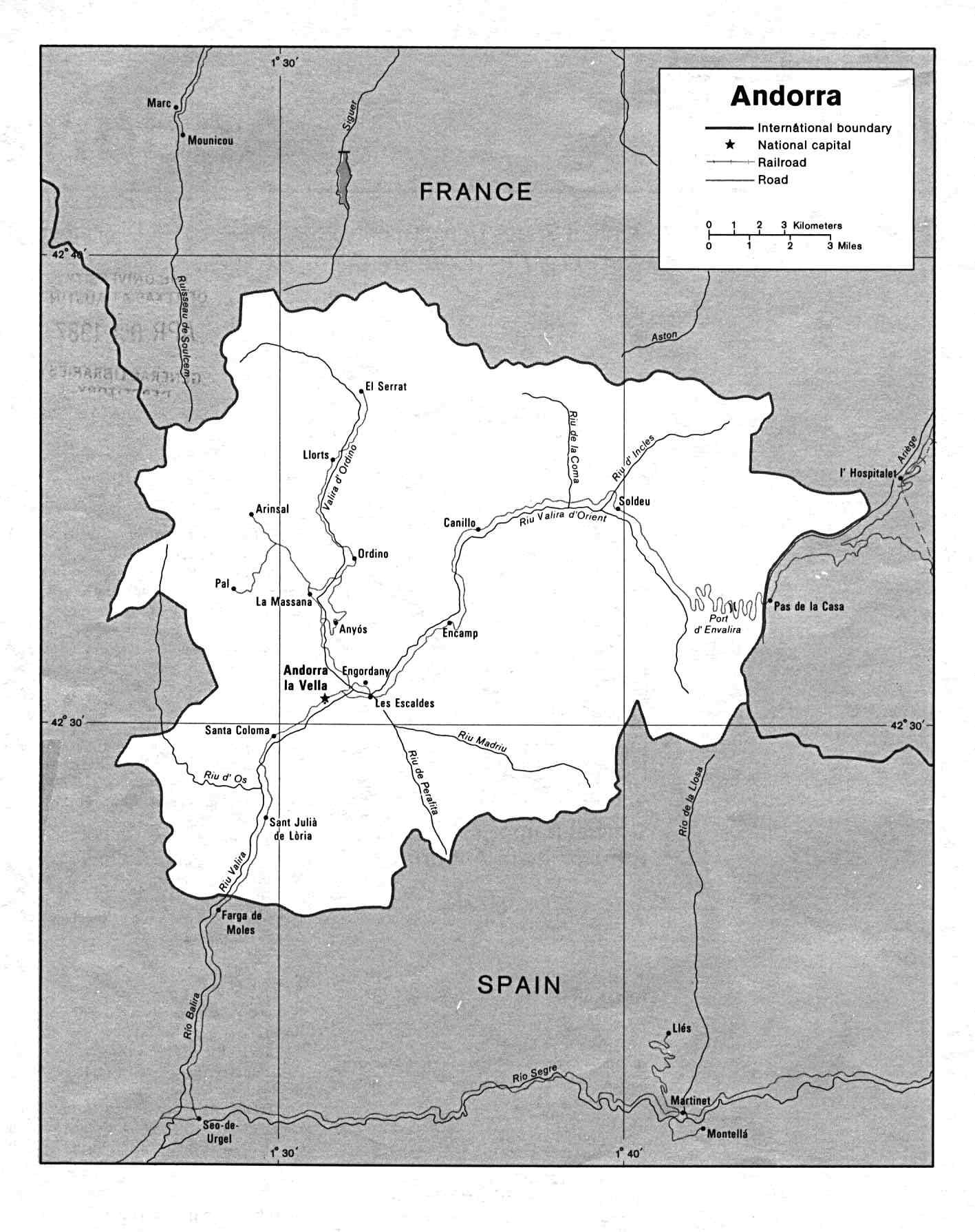 安道尔电子地图 - 安道尔各城市中文版地图浏览 - 安道尔旅游地图
