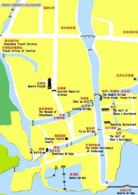 苏州河手绘游览图