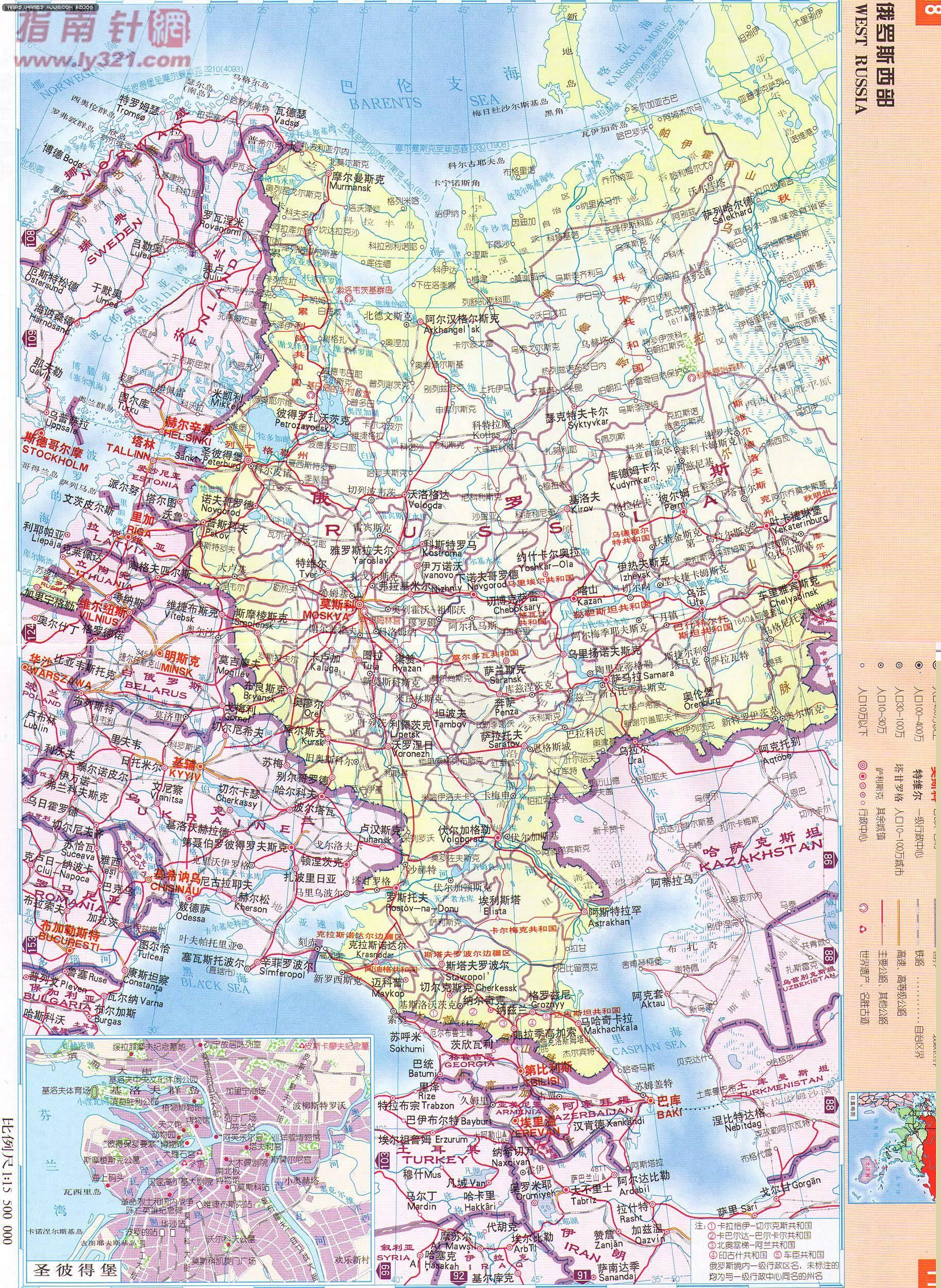 俄罗斯西部地图 - 欧洲地图 europe maps.世界地图- 美景旅游网