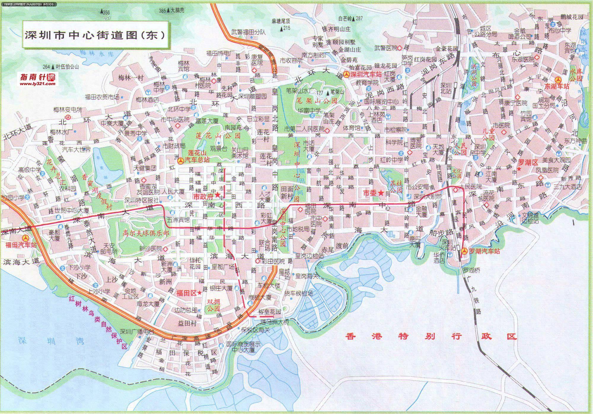 地图 深圳市/深圳市中心街道地图(东)