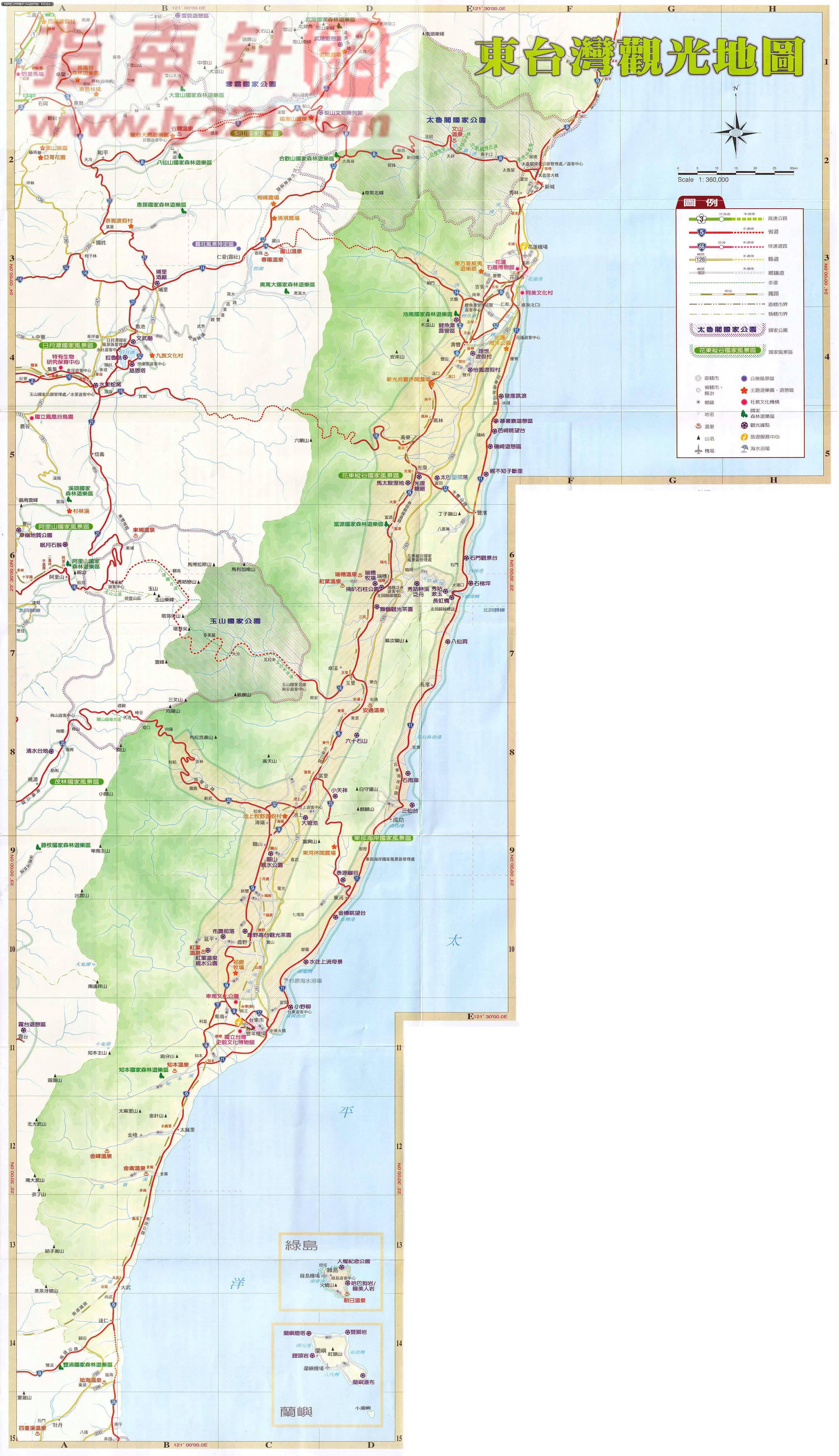 台灣東部旅遊觀光地圖